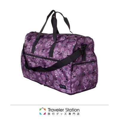 【HAPI+TAS 】貓咪蕾絲摺疊旅行袋(大)-紫色