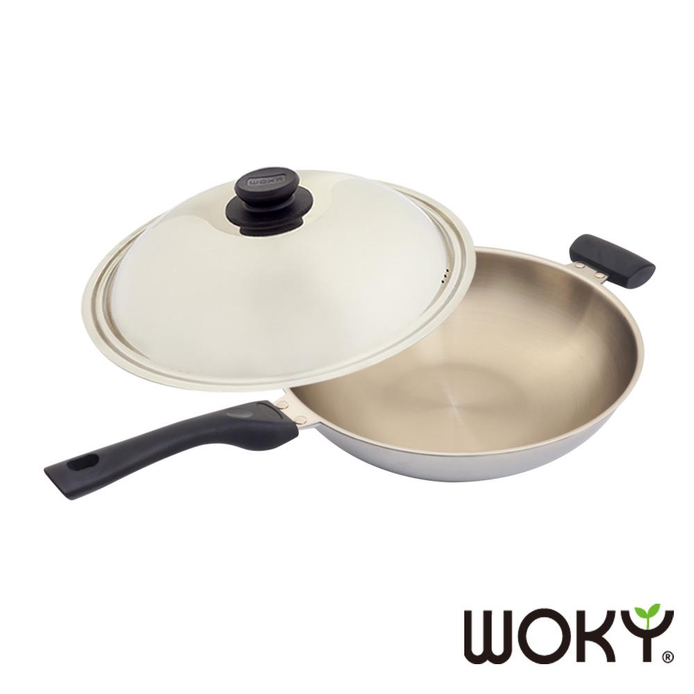 WOKY沃廚 玫瑰金專利不鏽鋼炒鍋39cm(贈OK智慧感溫鍋鏟)