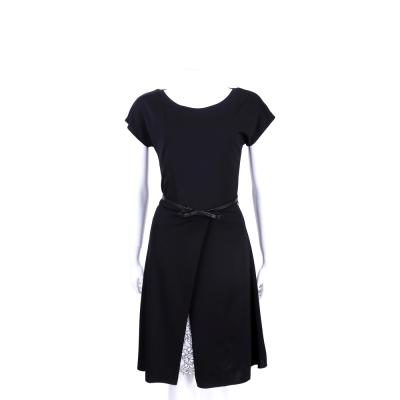 MAX MARA 黑色剪裁拼接蕾絲短袖洋裝(附腰帶)