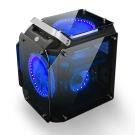 金剛 USB3.0 四面鍍銀鏡面鋼化玻璃 高階電競機殼(藍燈)
