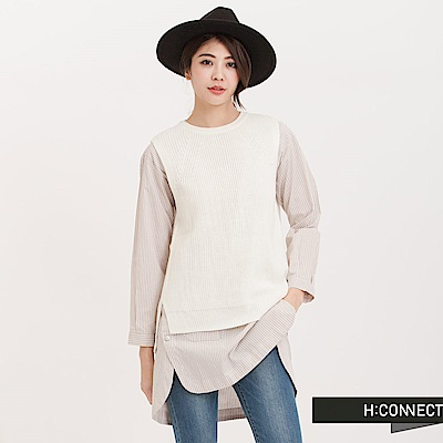 H:CONNECT 韓國品牌 女裝 - 後開衩無袖針織背心-米色