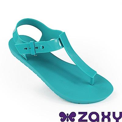 Zaxy 巴西 女 繽紛原色T字涼鞋-藍色
