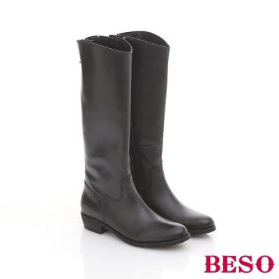 BESO-都會系列-全真皮極簡素面微雙色長靴-深藍