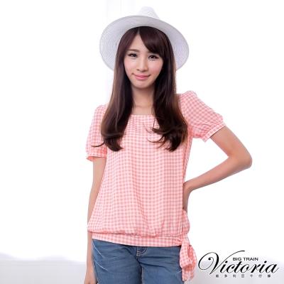 Victoria 格紋雪紡綁帶短袖T-女-粉格