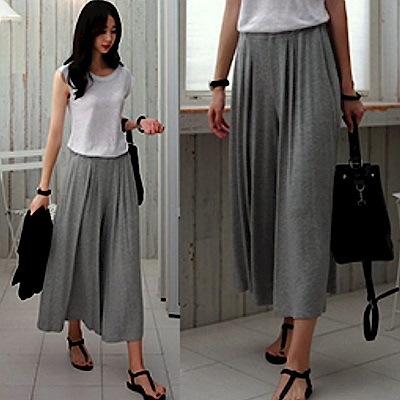 La Belleza腰間鬆緊棉質素色寬版長褲裙