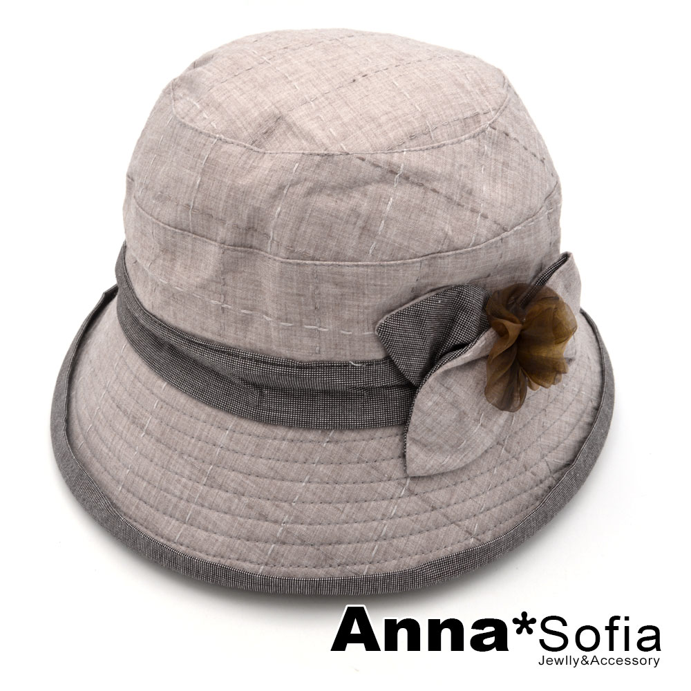 【滿額再75折】AnnaSofia 葉花細格小翻簷飾 遮陽防曬漁夫帽盆帽(褐咖系)