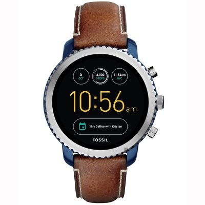 Fossil Q Explorist 系列觸控智能手錶-黑x咖啡/ 44 mm