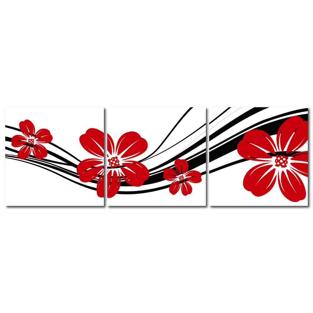 123點點貼- 三聯式無痕創意壁貼 - 紅大花 30*30cm