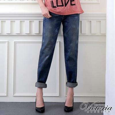 Victoria 袋蓋男友直筒褲-女-中藍