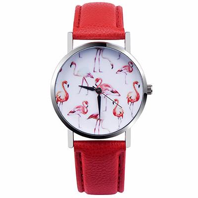 Watch-123 日日美好-紅鶴裝飾美麗隨行手錶-紅色/37mm