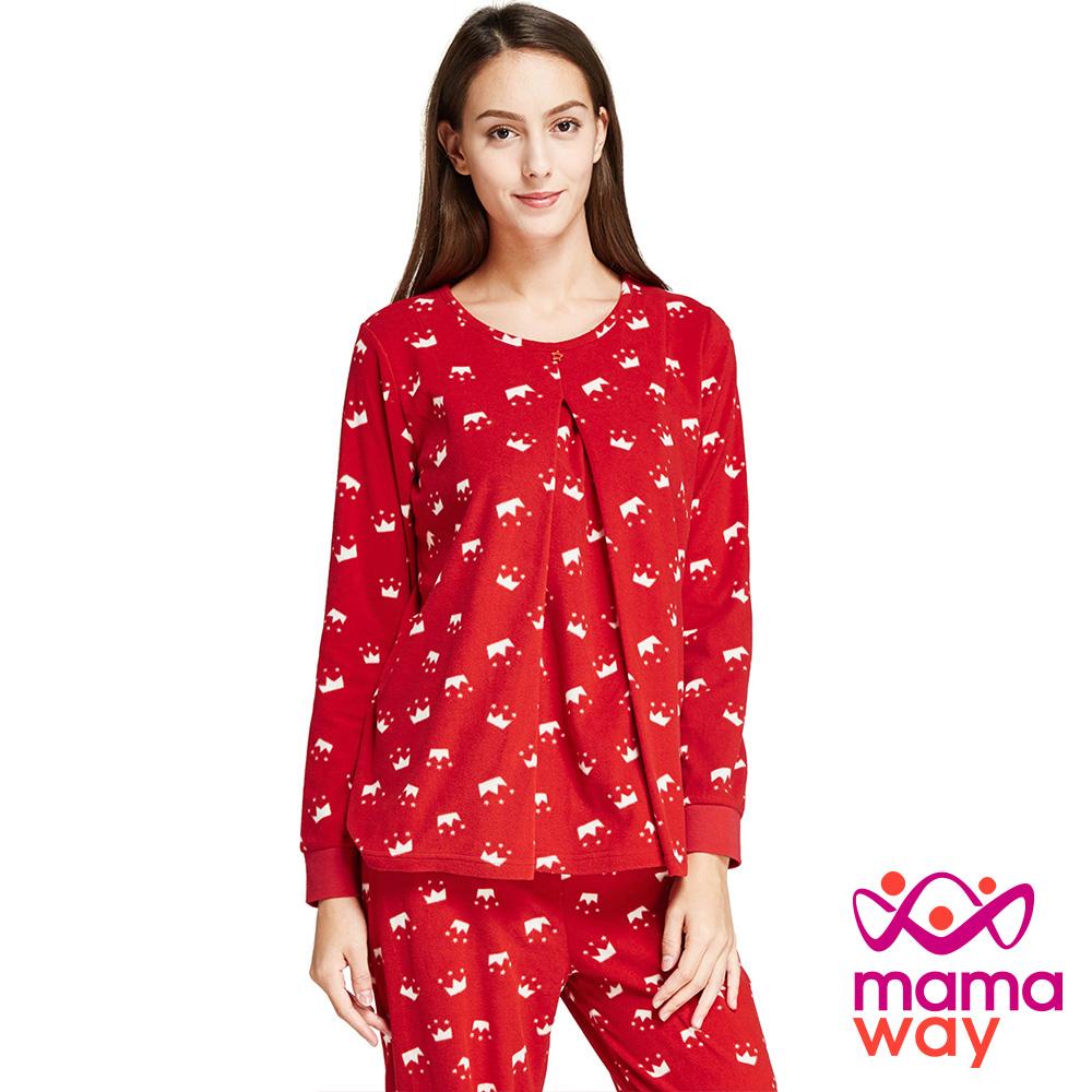孕婦裝 哺乳衣 坐月子 睡衣 超細刷毛孕哺居家服組(共二色) Mamaway