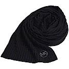 MICHAEL KORS 直紋經典字母MK LOGO刺繡圖騰保暖長圍巾(黑)