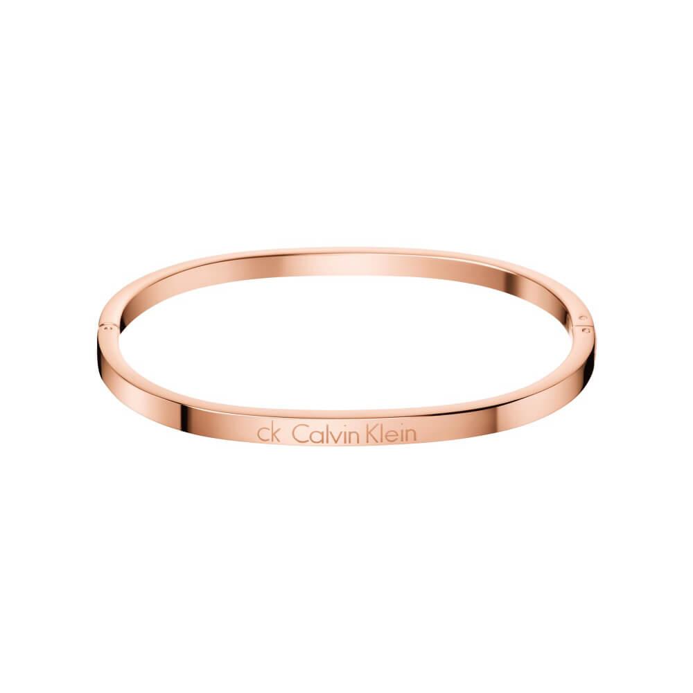 CALVIN KLEIN HOOK系列 窄版玫瑰金封閉式手環
