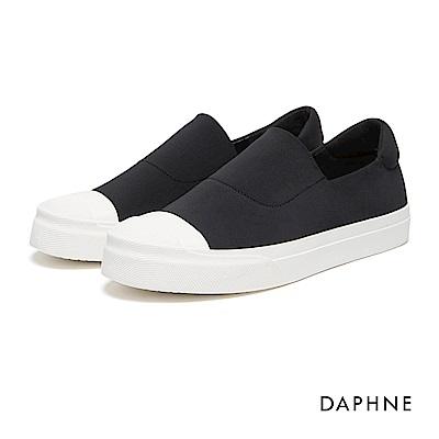 達芙妮DAPHNE 休閒鞋-布面縫線素色厚底懶人鞋-黑