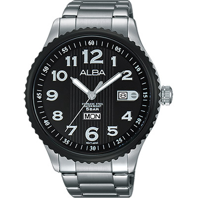 ALBA PRESTIGE 街頭酷流行腕錶(AV3507X1)-黑/45mm