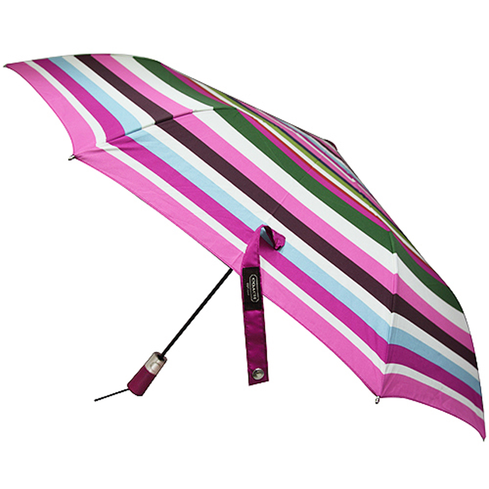 COACH 彩虹條紋晴雨兩用自動傘-彩