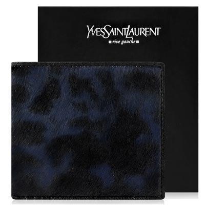 YSL聖羅蘭 藍黑色真皮豹紋中夾