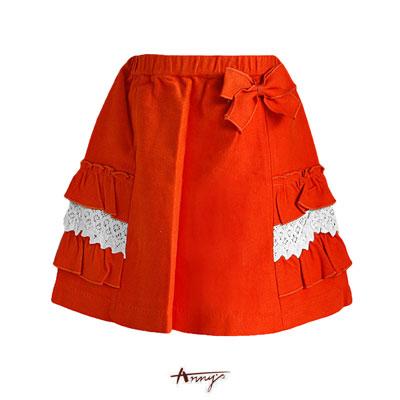 Anny鮮豔荷葉蕾絲雙口蝴蝶結A字短裙*7271橘