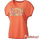 Wildland 荒野 0A61687-89蜜橘色 女雙色印花抗UV時尚上衣