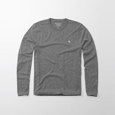 A&F 經典刺繡麋鹿長袖T恤-灰色 AF Abercrombie
