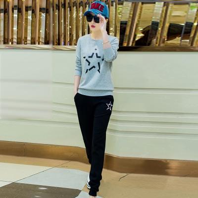 韓系-星星圖印上衣-抽繩長褲運動套裝組-共四色-91-KOKO