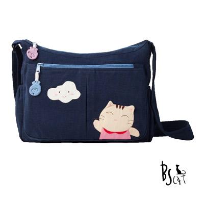 ABS貝斯貓 可愛貓咪拼布 肩背包 斜揹包 (藍) 88-210