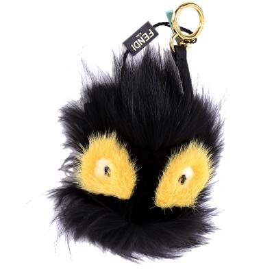 FENDI GRIMMY BAG BUG 狐狸毛魔魔吊飾(黑x黃色)
