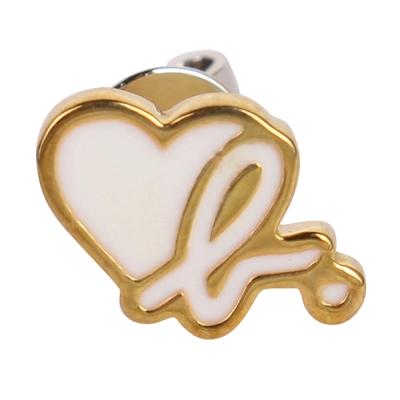 agnes b. b logo&愛心穿式耳環-銀邊白色(單隻)