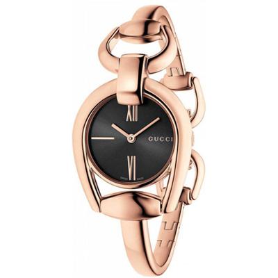 GUCCI 古馳 Horsebit 羅馬唯美手鍊腕錶-黑x玫塊金/28mm