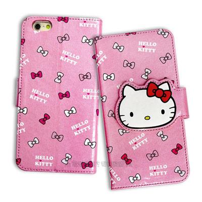 Hello Kitty iPhone 6S 4.7吋 閃粉絲紋皮套(蝴蝶結粉)