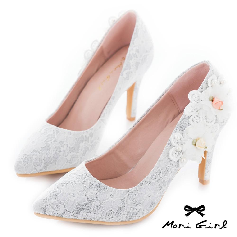 Mori girl手工花飾微尖頭蕾絲高鞋婚鞋 白
