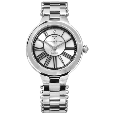 CHRISTIAN BERNARD 伯納錶 真鑽點綴瑞士製造不鏽鋼手錶-銀色/34mm