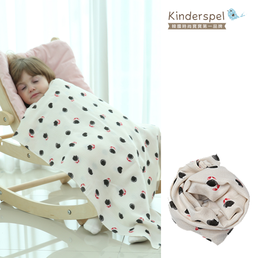 Kinderspel 寶寶保暖柔軟圍巾(白玫瑰)