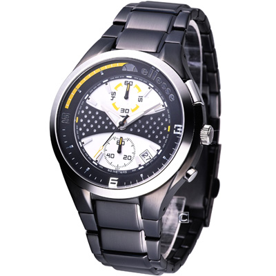 ellesse 鬥牛 計時時尚腕錶-黑/43mm