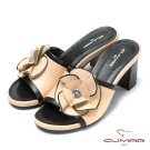 CUMAR花朵時尚 華麗真皮花朵造型涼鞋-裸色
