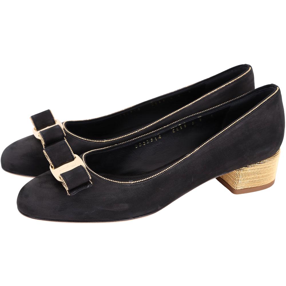 Salvatore Ferragamo VARA SHINE金珠飾粗跟鞋(黑色)