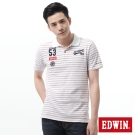 EDWIN POLO衫 隱約條紋繡花POLO衫-男-紅色