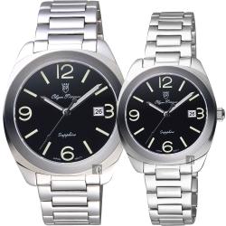 Olympianus 奧柏 經典復刻對錶-黑x銀/40+34mm
