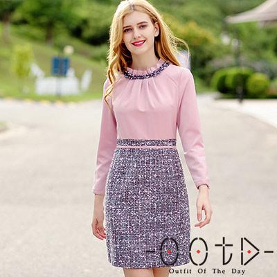 毛邊織帶立領拼接長袖洋裝 (粉色)-OOTD