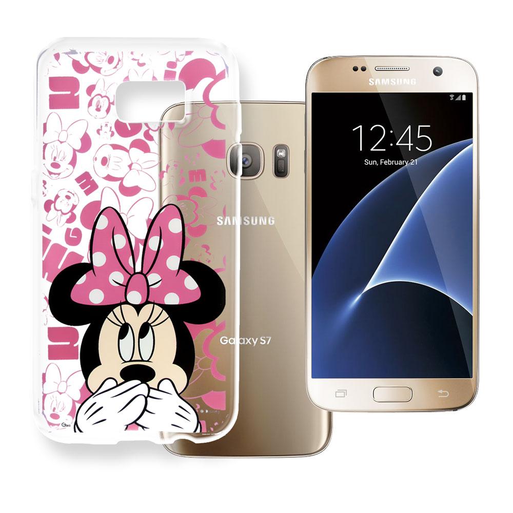 迪士尼 Samsung Galaxy S7 5.1吋 大頭透明手機軟殼(摀嘴米妮)