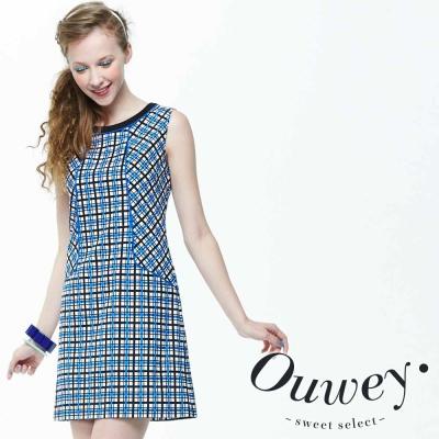 OUWEY歐薇-細緻格紋拼接藍調背心洋裝