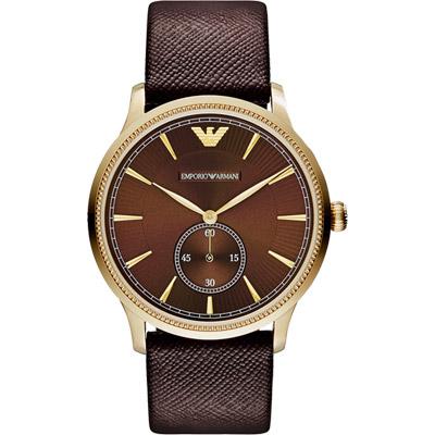 ARMANI Classic 爵士時尚小秒針腕錶-咖啡x金框/ 38mm