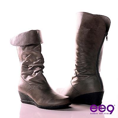 ee9簡約時尚-經典反摺2WAY進口小綿羊皮抓皺中筒靴-百搭黑