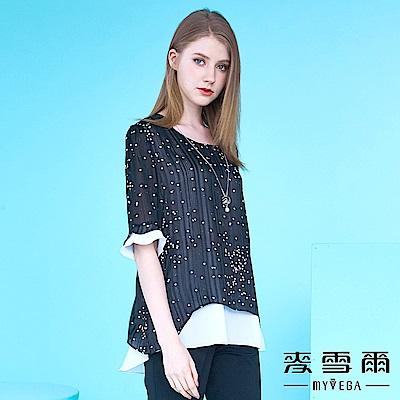 【麥雪爾】韓版雪紡銀河假兩件式上衣