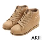 AKII韓國空運‧率性時尚鉚釘內增高短筒靴-卡其色