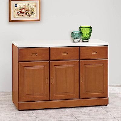 H&D 樟木色4尺碗盤櫃 (寬121X深43X高85cm)