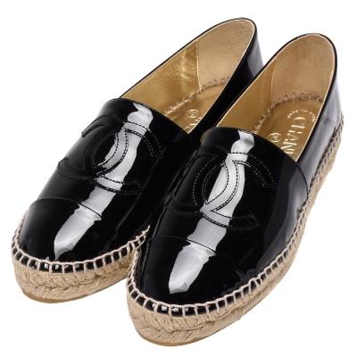 CHANEL 經典Espadrilles小香LOGO小牛漆皮厚底鉛筆鞋(黑)