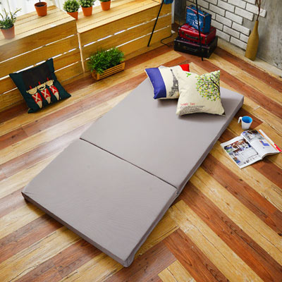 Saint Rose 台灣製 單人5公分吸濕透氣蜂巢式三折床墊組-灰