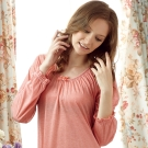 羅絲美睡衣 - 英國居家款長袖洋裝睡衣 (淺紅色)