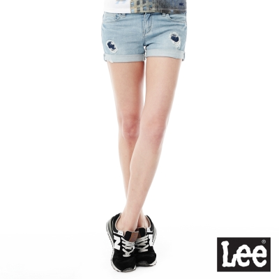 Lee Jade Fusion冰精玉石牛仔拼接短褲系列-女款-淺藍
